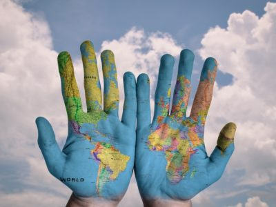 Map Global Globe World Earth Hands Creative Blue 600497
